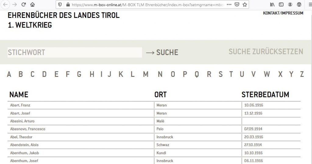 Tiroler Ehrenbuch - Digital - suchbare Datenbank (c/o Tiroler Landesmuseen)