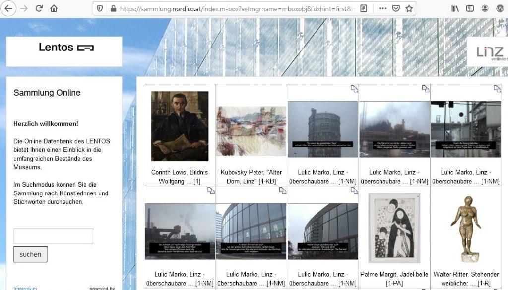 Ansicht Datenbank Lentos Linz